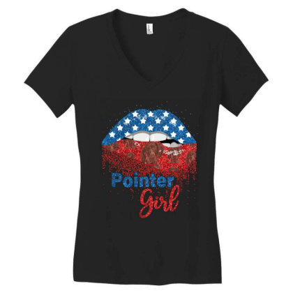 Pointer Girl Pretty American Flag Sexy Biting Lip 4th Of July Usa Amer Women's V-neck T-shirt Designed By Hoainv