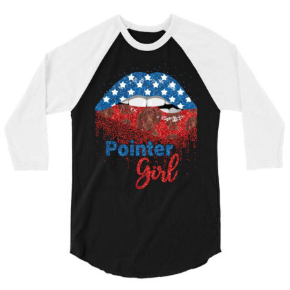 Pointer Girl Pretty American Flag Sexy Biting Lip 4th Of July Usa Amer 3/4 Sleeve Shirt Designed By Hoainv