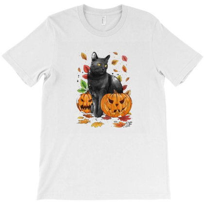 Cat Leaves And Pumpkins T-shirt Designed By Macapat