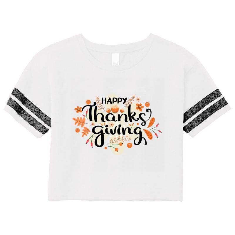 Happy Thanksgiving Day Scorecard Crop Tee   Artistshot