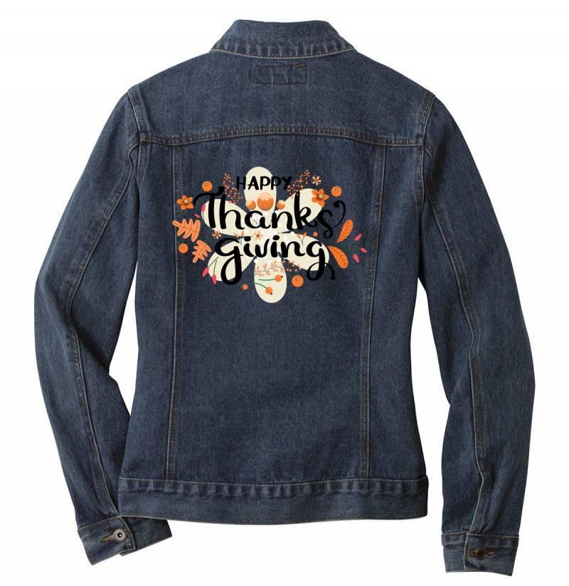 Happy Thanksgiving Day Ladies Denim Jacket | Artistshot