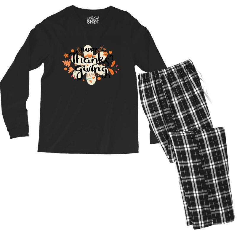 Happy Thanksgiving Day Men's Long Sleeve Pajama Set | Artistshot