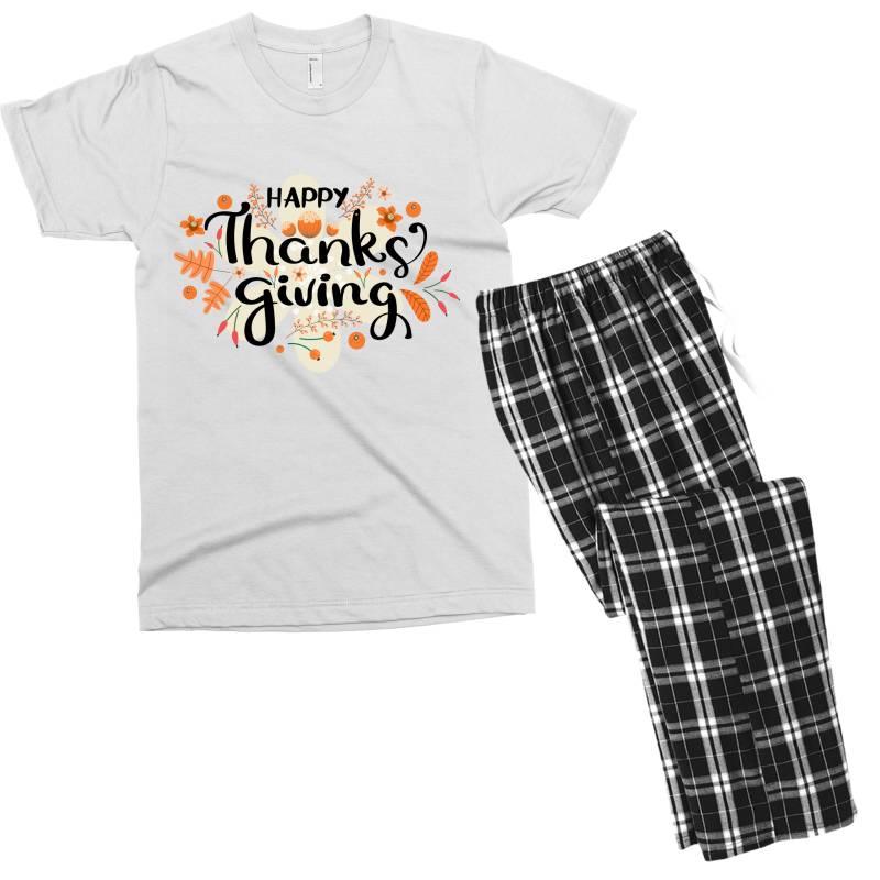 Happy Thanksgiving Day Men's T-shirt Pajama Set | Artistshot