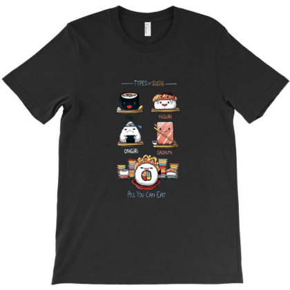Types Of Sushi T-shirt Designed By Brewer