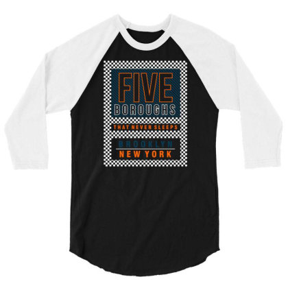 Five Boroughs In New York City 3/4 Sleeve Shirt Designed By Tamiart