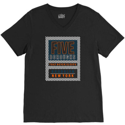 Five Boroughs In New York City V-neck Tee Designed By Tamiart