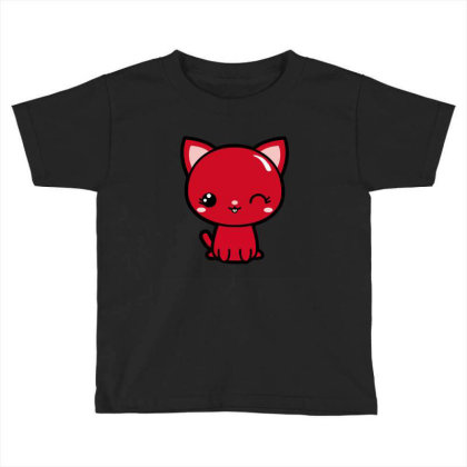 Cherry Head Kawaii Chibi Kitty Toddler T-shirt Designed By Kessok
