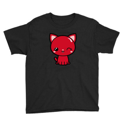 Cherry Head Kawaii Chibi Kitty Youth Tee Designed By Kessok