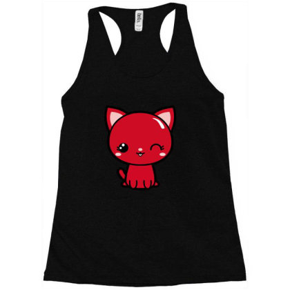 Cherry Head Kawaii Chibi Kitty Racerback Tank Designed By Kessok