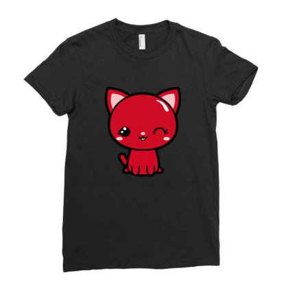 Cherry Head Kawaii Chibi Kitty Ladies Fitted T-shirt Designed By Kessok