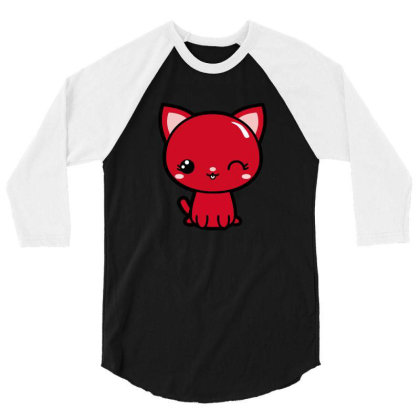 Cherry Head Kawaii Chibi Kitty 3/4 Sleeve Shirt Designed By Kessok