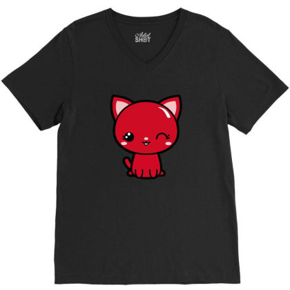Cherry Head Kawaii Chibi Kitty V-neck Tee Designed By Kessok