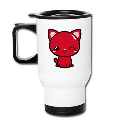 Cherry Head Kawaii Chibi Kitty Travel Mug Designed By Kessok