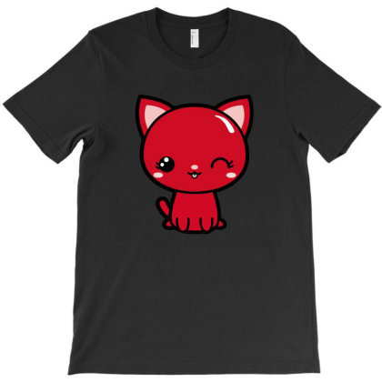 Cherry Head Kawaii Chibi Kitty T-shirt Designed By Kessok