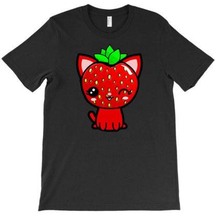 Strawberry Head Kawaii Chibi Kitty T-shirt Designed By Kessok