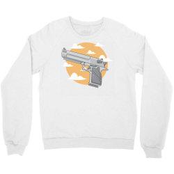 hand gun with clouds and sky background Crewneck Sweatshirt | Artistshot