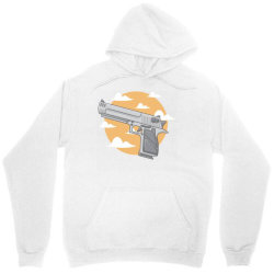 hand gun with clouds and sky background Unisex Hoodie | Artistshot