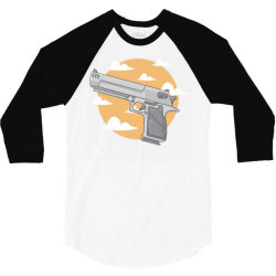 hand gun with clouds and sky background 3/4 Sleeve Shirt | Artistshot