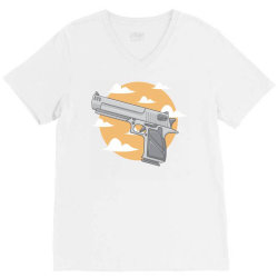 hand gun with clouds and sky background V-Neck Tee | Artistshot