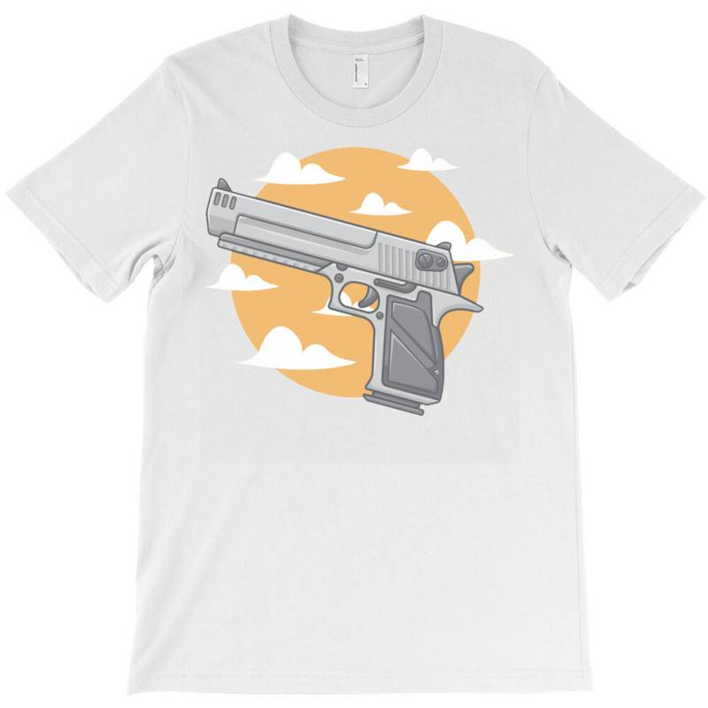 Hand Gun With Clouds And Sky Background T-shirt | Artistshot