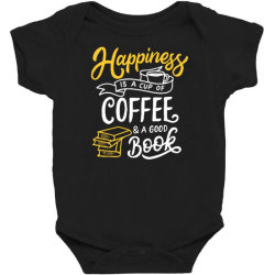 happiness is a cup of coffee and a good book Baby Bodysuit | Artistshot