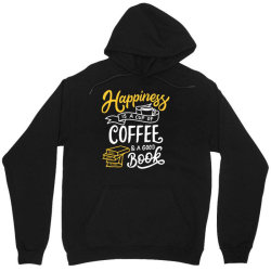 happiness is a cup of coffee and a good book Unisex Hoodie | Artistshot
