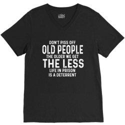 dont piss off old people V-Neck Tee   Artistshot