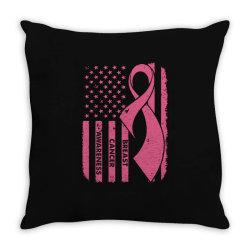breast cancer awareness flag Throw Pillow   Artistshot