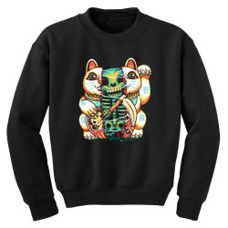 lucky cat skull Youth Sweatshirt   Artistshot