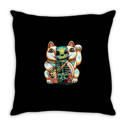 lucky cat skull Throw Pillow | Artistshot