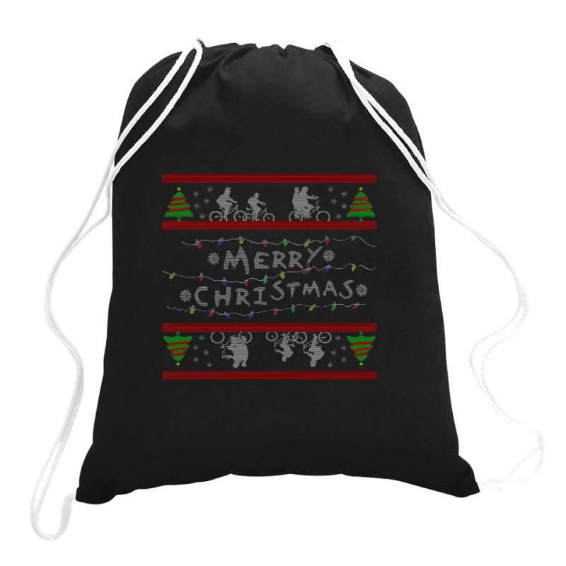 Stranger Christmas Drawstring Bags   Artistshot