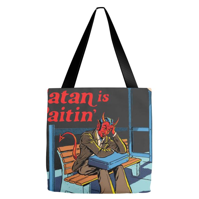 Satan Is Waitin Tote Bags | Artistshot