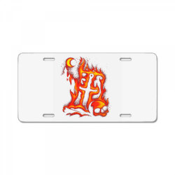 fiery eclipse skull cross License Plate | Artistshot