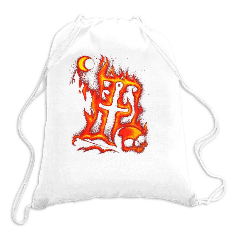 Fiery Eclipse Skull Cross Drawstring Bags | Artistshot