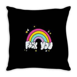 rainbow fuck you Throw Pillow | Artistshot