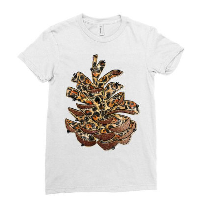 Leopard Pine Cone Ladies Fitted T-shirt Designed By Badaudesign