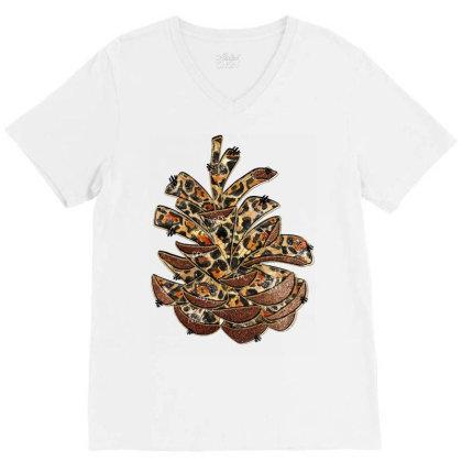 Leopard Pine Cone V-neck Tee Designed By Badaudesign