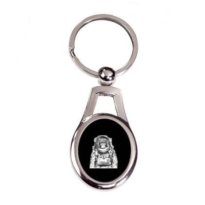 Astronaut Monkey T-shirt Silver Oval Keychain Designed By Coşkun