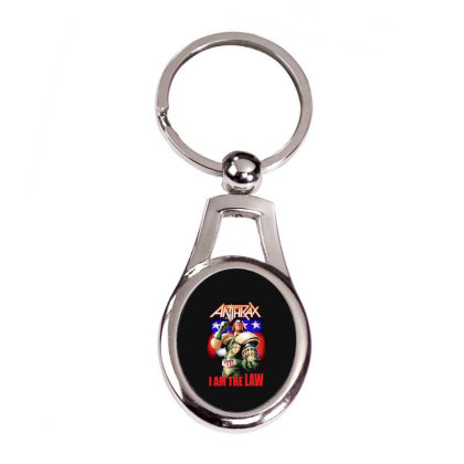 New Anthrax Dredd I Am The Law Metal Rock3 Silver Oval Keychain Designed By Pujangga45