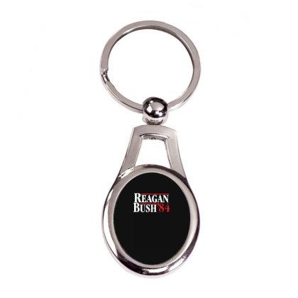 Reagan Bush '84 Silver Oval Keychain Designed By Toldo