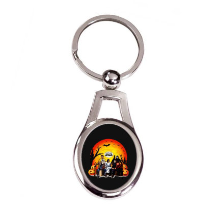 Funny Halloween Jesus Talk To Horror Charaters Friends Silver Oval Keychain Designed By Jacobs