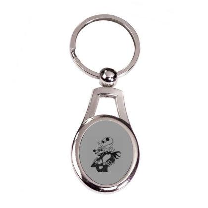 Pumpkin Head T-shirt Silver Oval Keychain Designed By Coşkun
