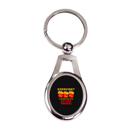 Exercise I Thought You Said French Silver Oval Keychain Designed By Yad1_