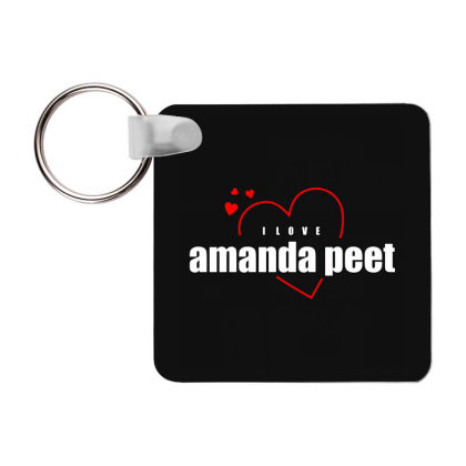 I Love Amanda Peet Frp Square Keychain Designed By Word Power