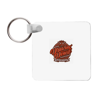 Drawing Pencil Frp Square Keychain Designed By Samkal