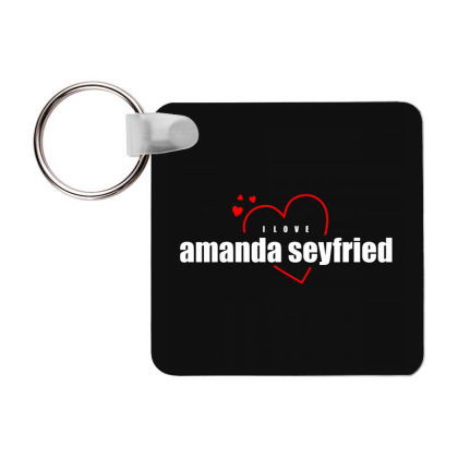 I Love Amanda Seyfried Frp Square Keychain Designed By Word Power