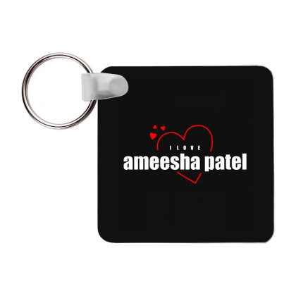 I Love Ameesha Patel Frp Square Keychain Designed By Word Power