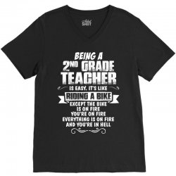 being a 2nd grade teacher is easy its like riding a bike 1 V-Neck Tee | Artistshot