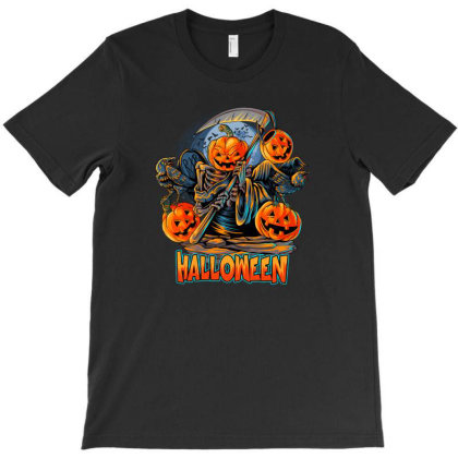 Halloween Angel Of Death Pumpkins With Crow Scary T-shirt Designed By Jack14