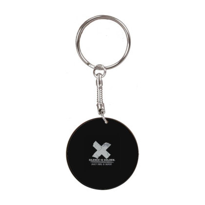 Silence Is Golden White Round Keychain Designed By Yad1_